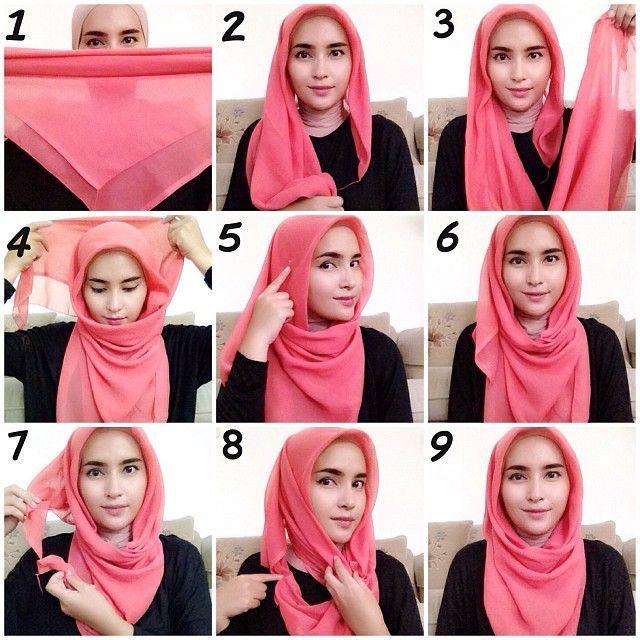 cara memakai jilbab segitiga polos