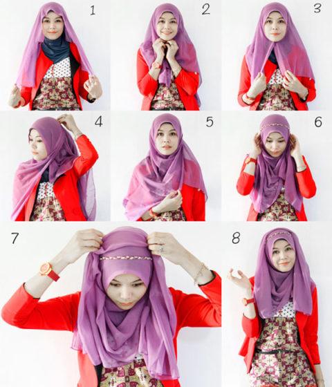 Cara-Memakai-Jilbab-Segi-Empat-Modern