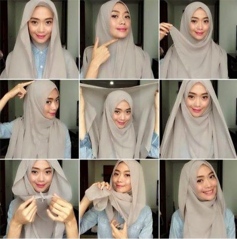 Cara-Memakai-Jilbab-Segi-Empat-Sederhana