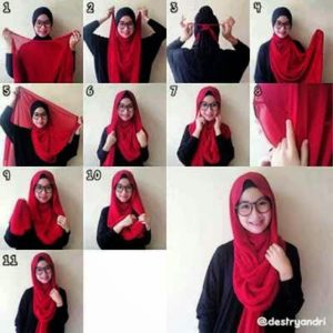 cara-memakai-jilbab-paris-segi-empat-2