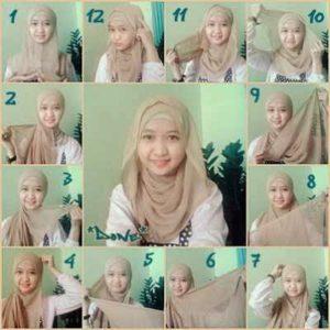 cara-memakai-jilbab-paris-segi-empat